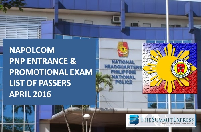 List of Passers: April 2016 NAPOLCOM exam results