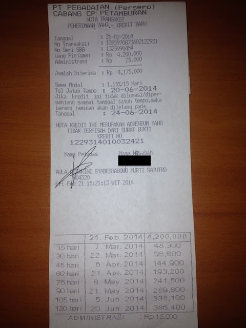 nota transaksi penerimaan uang - pegadaian