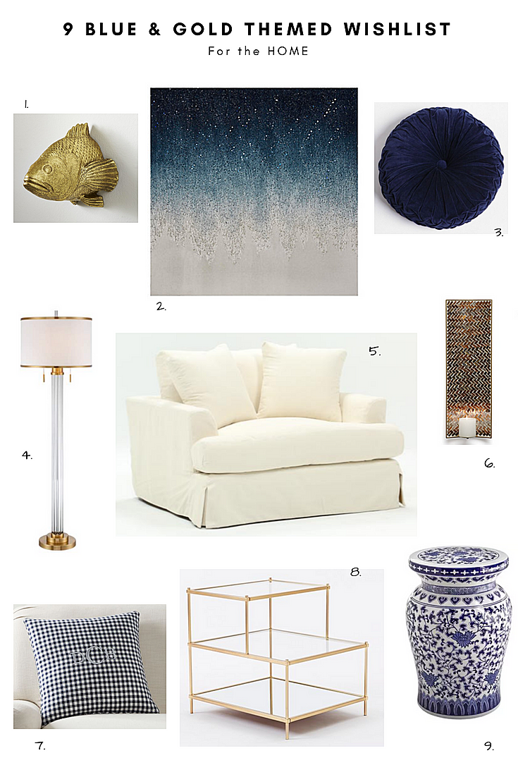 9 Blue & Gold Themed Wishlist for the Home