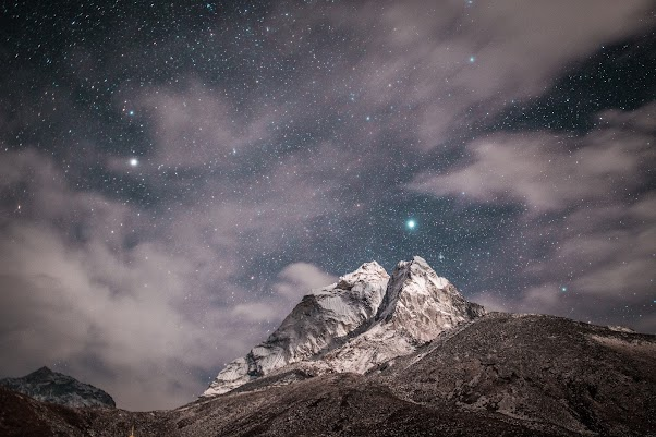Stars On Sky And Mountain