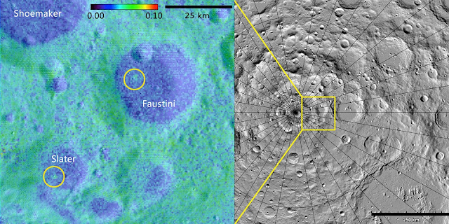 Using data from the LAMP instrument aboard the Lunar Reconnaissance Orbiter, a Southwest Research Institute-led team of scientists discovered two geologically young craters — one (right) 16 million, the other (left) between 75 and 420 million, years old — in the Moon's darkest regions. One lies within Slater Crater, named for the late Dr. David C. Slater, a former SwRI space scientist who designed and built the LAMP instrument. Albedo map credit: NASA GSFC/SwRI  Topographic map credit: NASA GSFC/ASU Jmoon