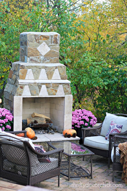 Paver patio with stone fireplace