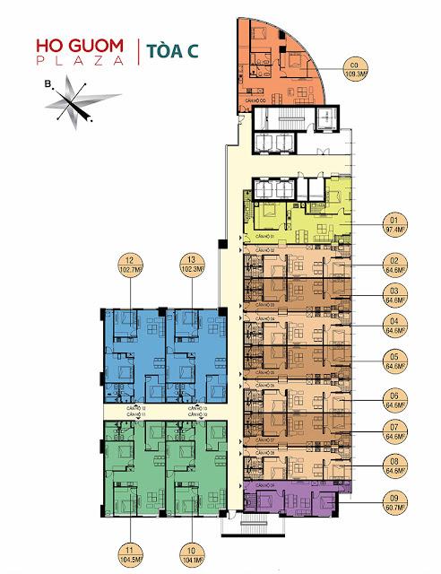 Mặt bằng tháp C chung cư Hồ Gươm Plaza