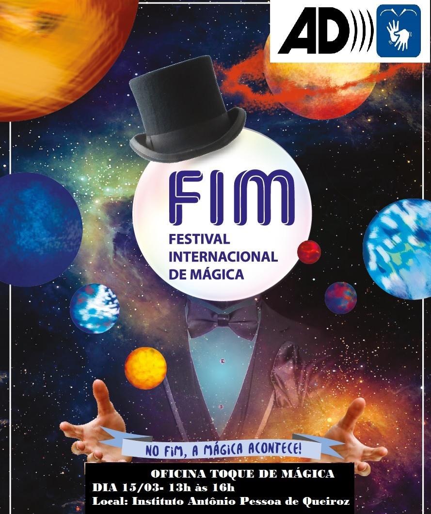 Festival Internacional de Mágica: logotipo com o símbolo da audiodescrição