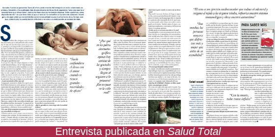 Entrevista a Sonsoles Fuentes sobre el libro Inteligencia Sexual publicada en Salud Total