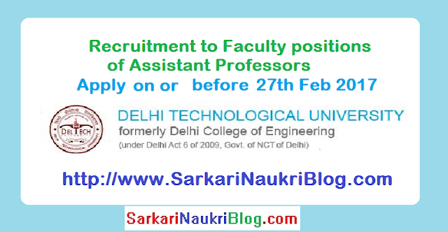 Naukri Vacancy Recruitment Delhi Technological University DTU