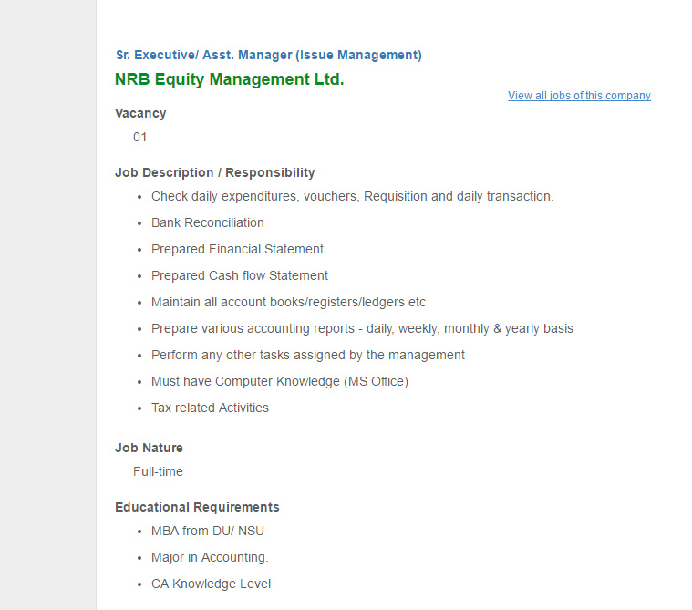 NRB Equity Management Ltd - Sr Executive/ Asst Manager (Issue