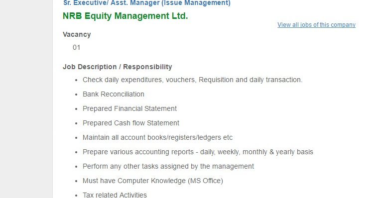 NRB Equity Management Ltd - Sr Executive/ Asst Manager (Issue