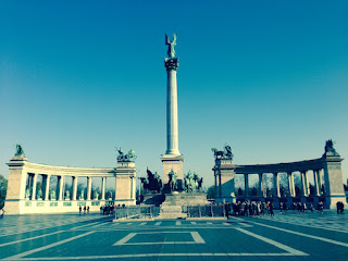 Hősök tere (Heroes' Square) in Budapest a tribute to its Magyar chiefs and the great kings