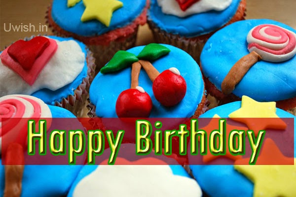 Happy birthday  e greetings and wishes, take your cute cup cakes.