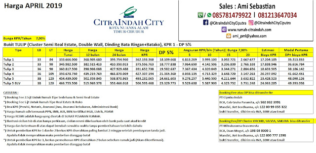 Harga Bukit TULIP Citra Indah City April 2019