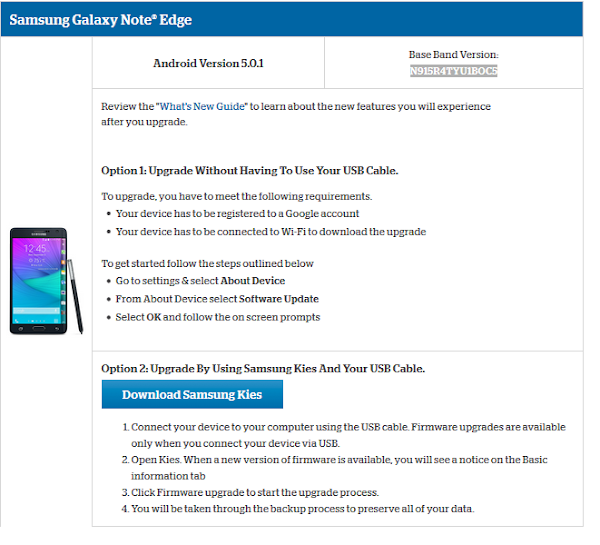 Samsung Galaxy Note Edge for US Cellular Lollipop update page