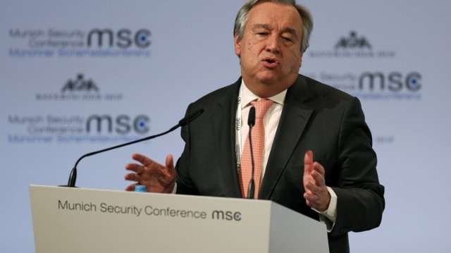 UN Secretary-General Antonio Guterres speaks during the 54th Munich Security Conference (MSC), in Munich, Germany. EPA, RONALD WITTEK