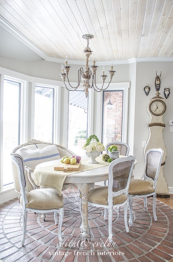 Beautiful breakfast room in a vintage French chateau style home