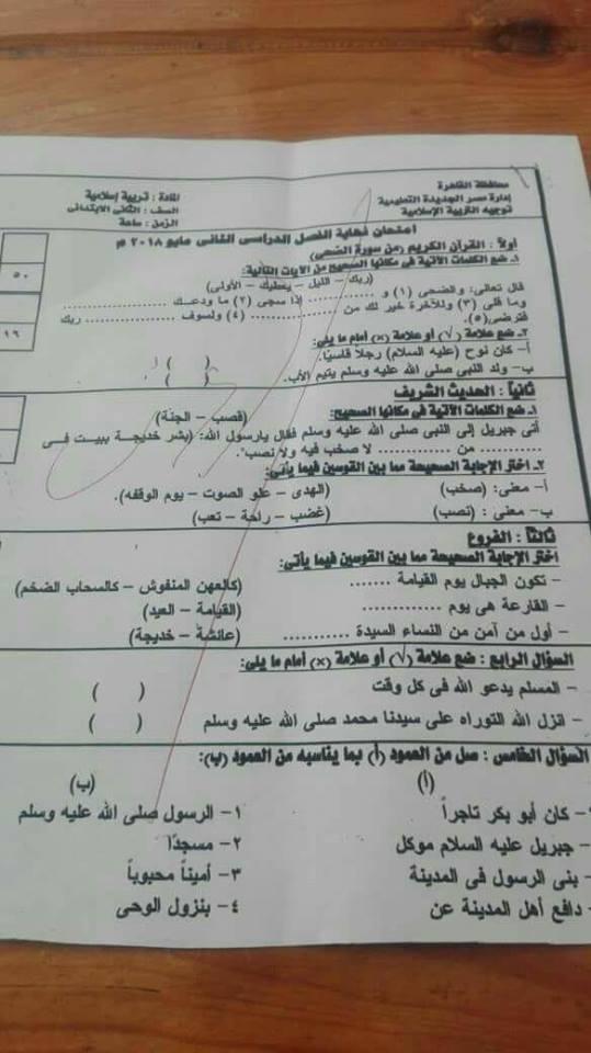مراجعة التربية الدينية للصف الثاني الابتدائي ترم ثاني أ. محمد جابر 30739125_381919158970799_1714929667111465996_n