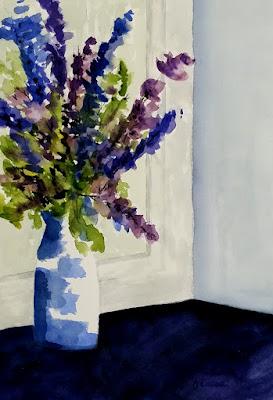 Larkspur - Watercolor - John Keese
