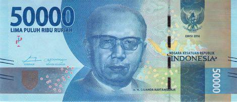 uang baru 50 ribu rupiah 2016 depan