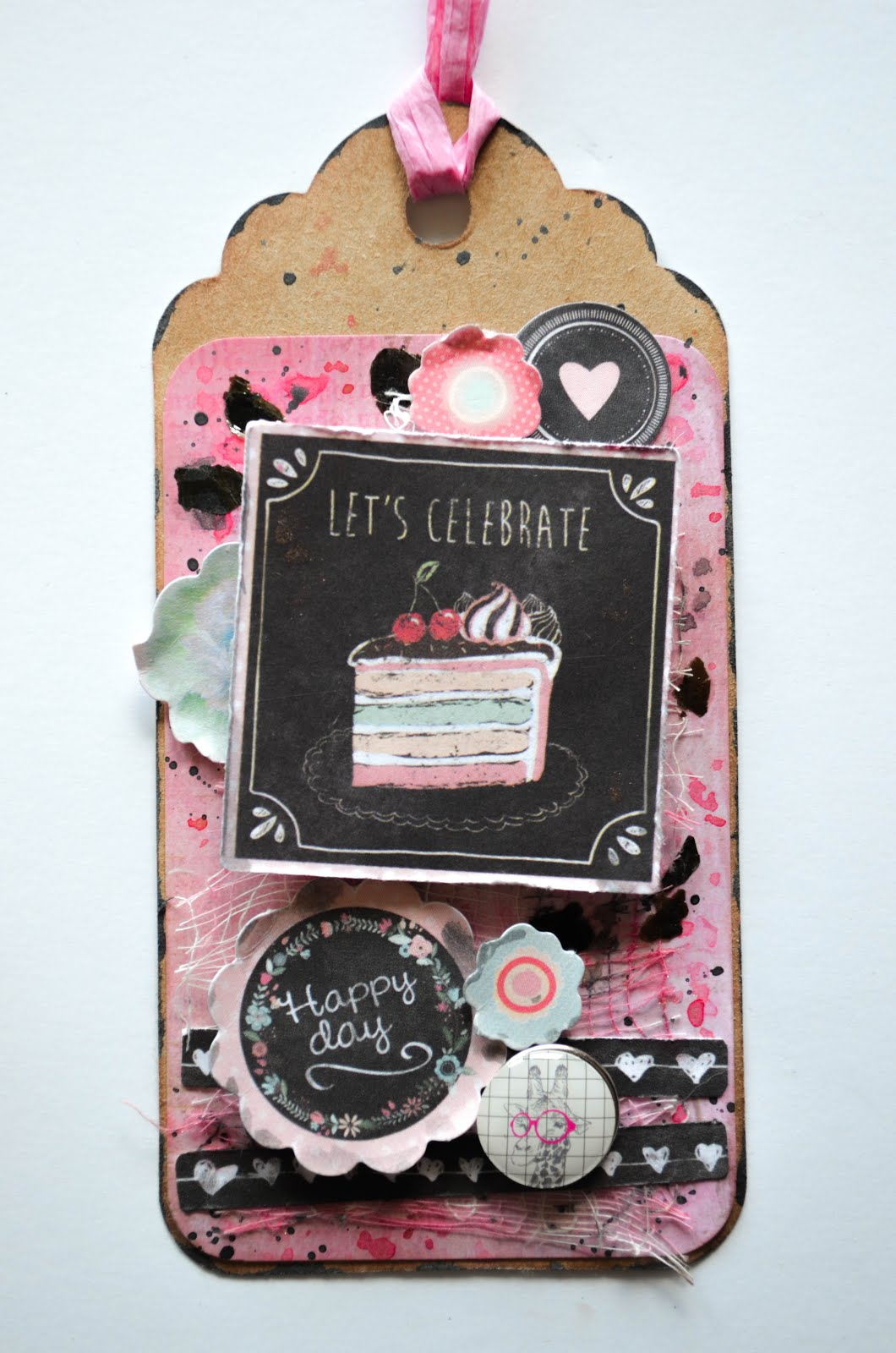 Shabby chic pink and black mixed media birthday tags with texture paste, cheesecloth, and chipboard