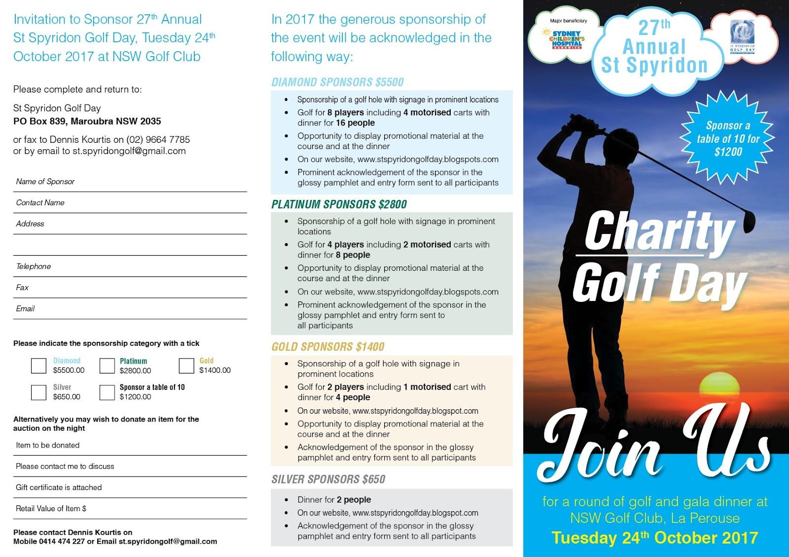 ST SPYRIDON GOLF DAY Invitation to Sponsor 2017 St Spyridon Golf Day