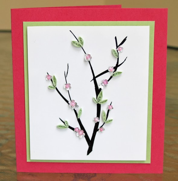 Quilled Cherry Blossoms Card Tutorial by Ann Martin