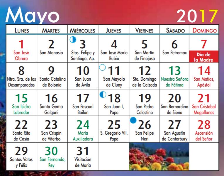 Calendario Santoral.Fe Y Vida Santoral Mes De Mayo 2017