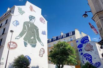 Paris : Fresque de William Mackendree - angle de la rue des Dames et de la rue Biot - XVIIème