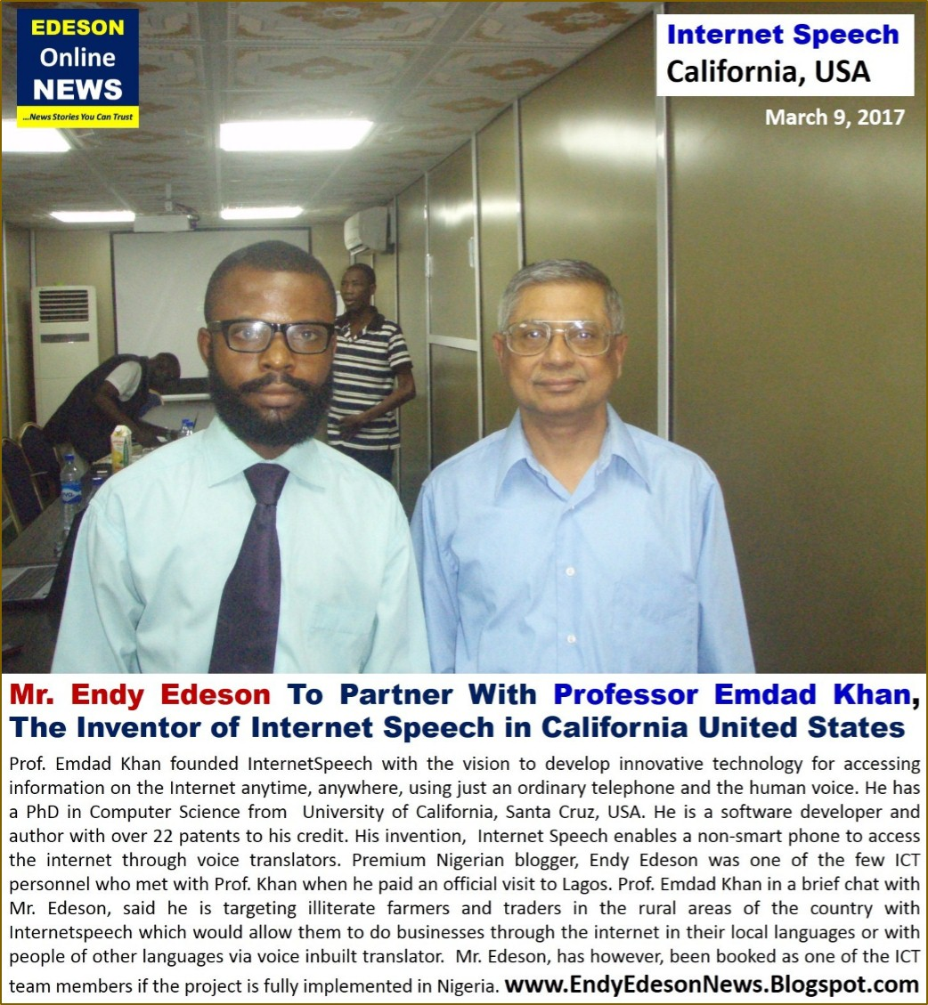 PHOTO: Endy Edeson Meets The Inventor of Internet Speech, Prof. Emdad Khan from California