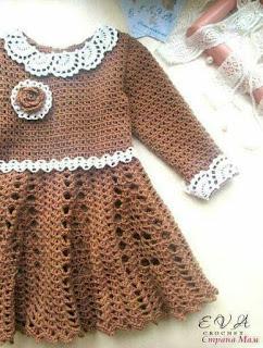 95b5b5da6aa5f beside crochet  فستان كروشية بكم للبنوتة.crocheted brown dress for girls