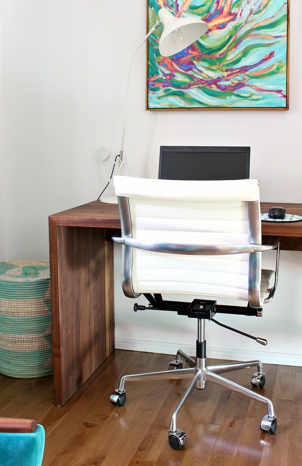 Fancy Colorful Mid Century Modern Inspired Home Office Makeover Before After