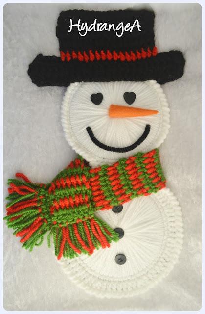 Muñeco de nieve realizado con 2 cd reciclados, lana, fieltro, botones y 1 limpiapipas