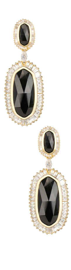 Kendra Scott Baguette-Trim Oval Drop Black Earrings