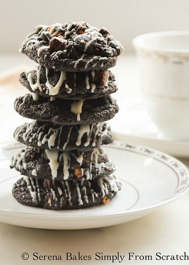 Triple Chocolate Hazelnut Cookies are a favorite for Christmas from Serena Bakes Simply From Scratch.