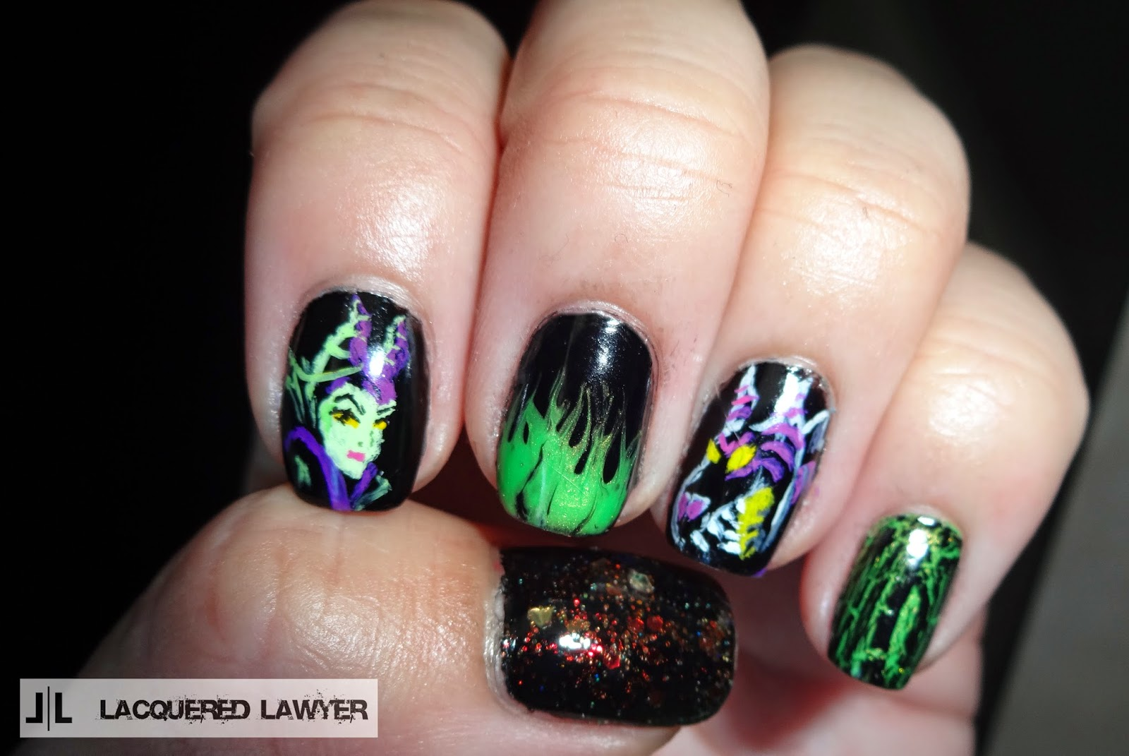 Lacquered Lawyer Nail Art Blog Maleficent Nail Art