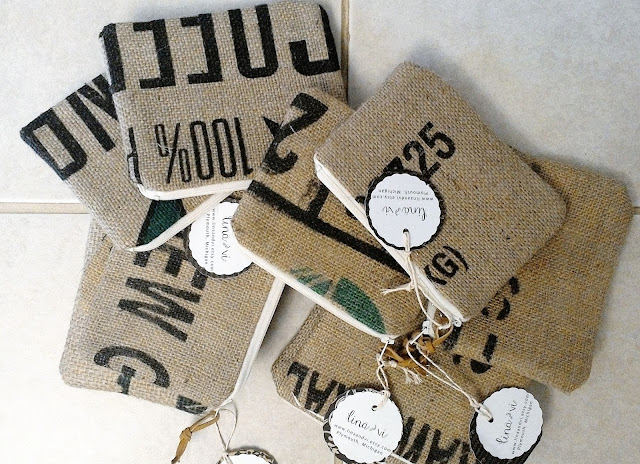 Burlap Zipper Pouches by Lina and Vi, Plymouth MI - linaandvi.etsy.com
