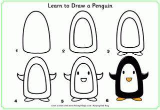 Learn to draw a penguin for kids 2