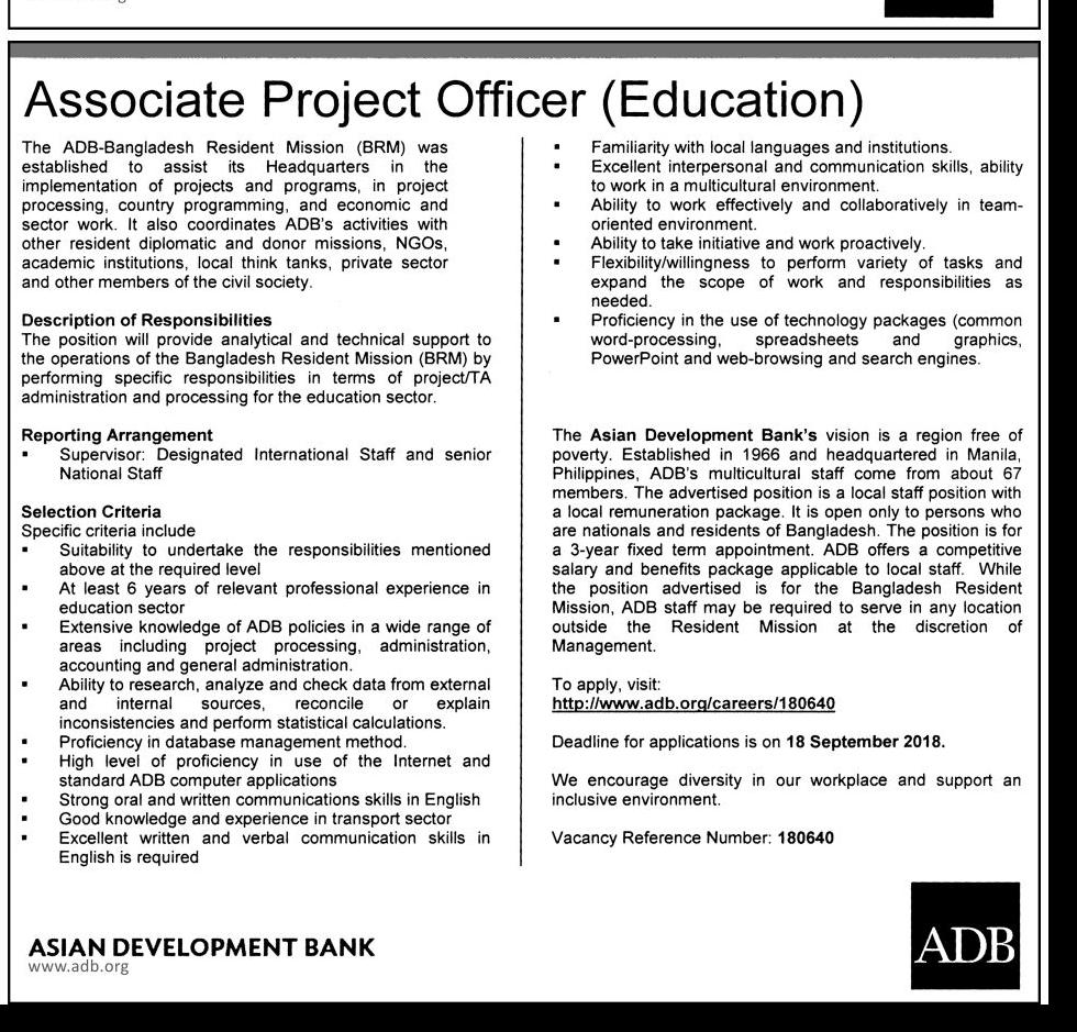 Asian Development Bank (ADB) Associate Project Officer (Education) and Senior Project Assistant Job Circular 2018
