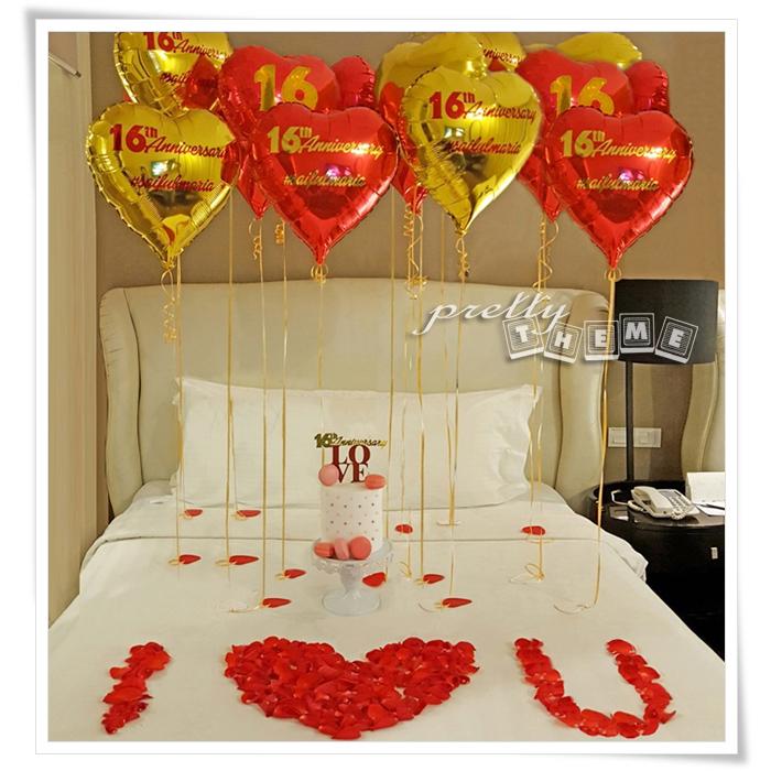 Pretty theme event planner balloon muar belon muar yeay for Hotel room decor for birthday