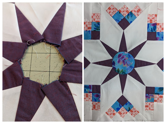 Two collaged photos. On the left, a thin purple shot cotton is doubled to provide more strength to the compass points. On the right, the block is sewn with a blue print center circle, the purple compass points end in squares that range from blue to coral to white and outline the white star points.