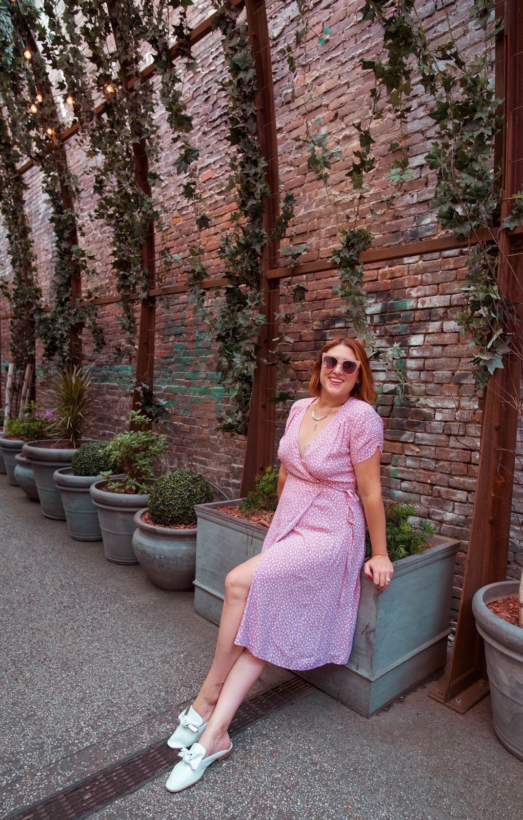 nomo walkway, wrap dress, & other stories mini floral dress, maddy mules, the daily edited circle bag