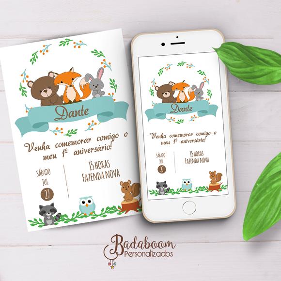 Floresta, convite, arte, digital kit, rapoza, guaxinim, coelho, urso, coruja, esquilo, whatsapp, impressão, arte personalizada