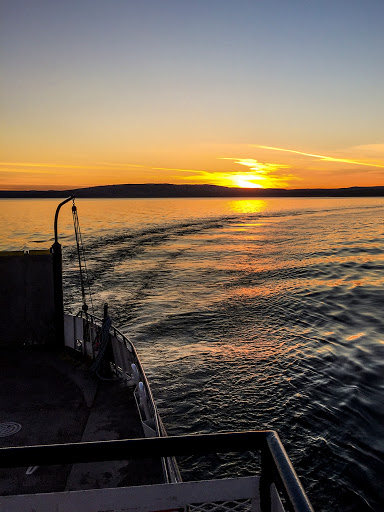 Riding the Madeline Island Ferry from Bayfield to La Pointe at sunset