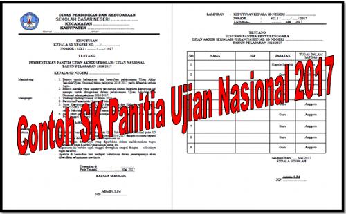 Contoh SK Panitia Ujian Nasional 2017