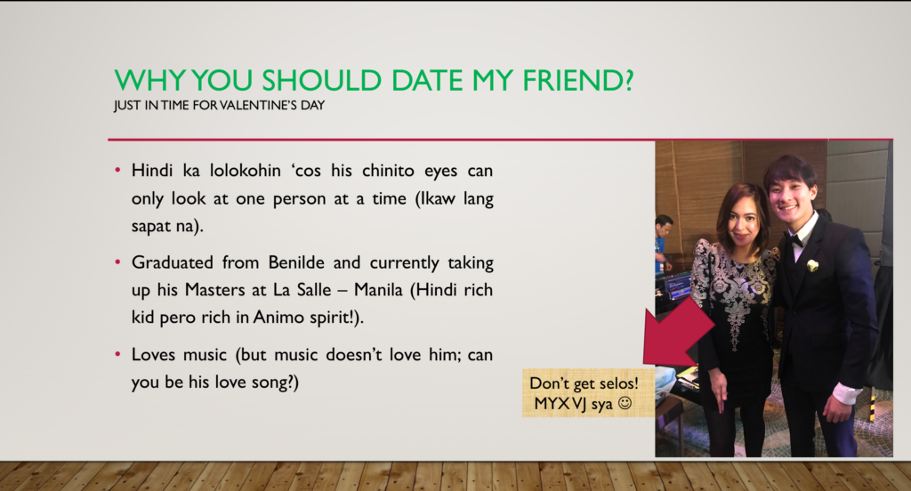 Guys help friend find GF with hilarious but serious PowerPoint presentation