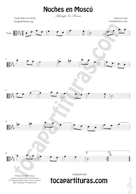 Viola Partitura de Noches en Moscú Sheet Music for viola