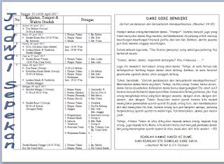 Contoh Warta Jemaat Gereja unik dan lengkap Gereja Bethel Tabernakel