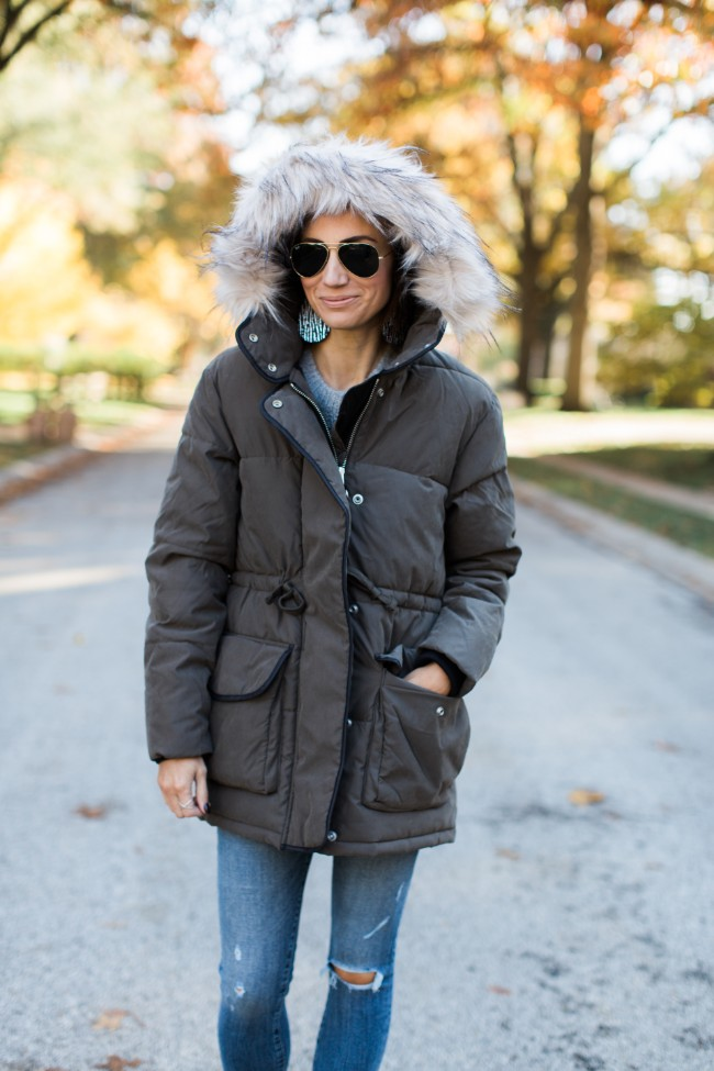 Abercrombie Faux Fur Hooded Puffer