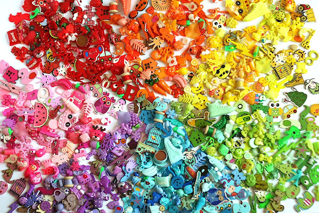 Rainbow I spy trinkets, color sorting, colorful I spy bottles