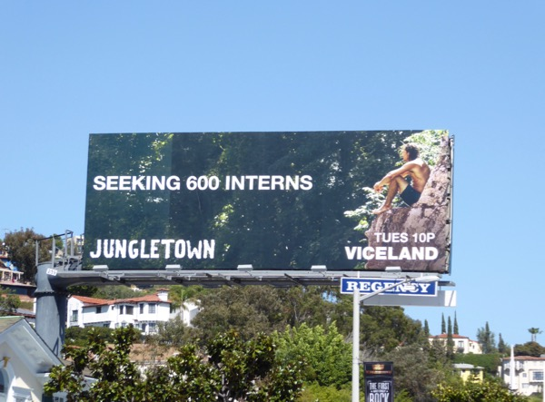 Jungletown Seeking 600 interns billboard
