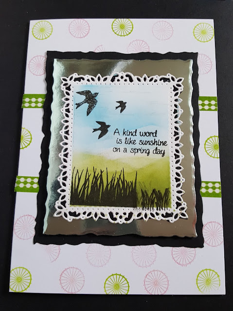 """A Kind Word.... hand stamped and coloured scene 7"""" x 5"""" card"""