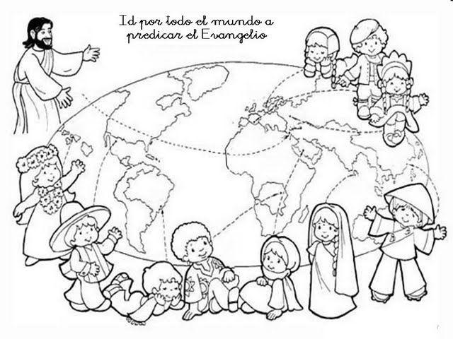 Las Misiones Y Los Niños Dibujos Para Colorear De Niños: Dibujo De La Gran Comisión Para Colorear